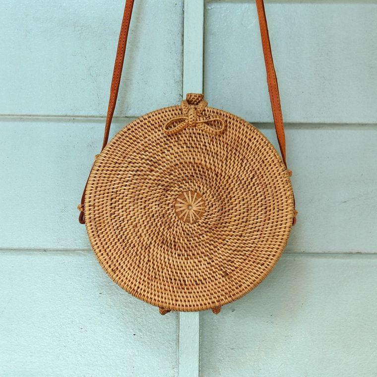 Atta Reina Round Rattan Crossbody Straw Bag (1-3 days)
