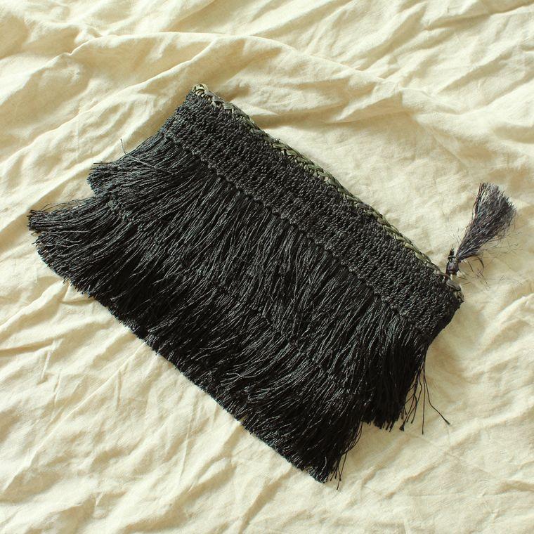 Canggu Black Flapper Fringe Straw Clutch Bag (1-3 days)