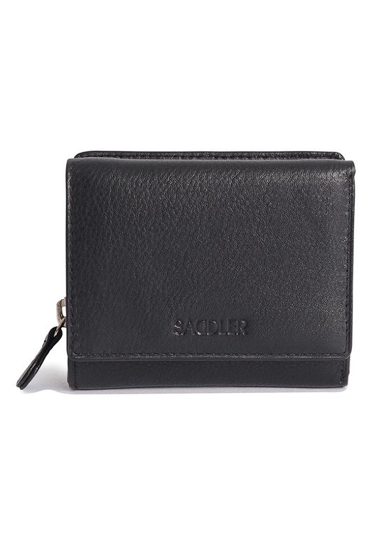 SADDLER Womens Real Leather Compact Trifold Wallet - Zipper Coin Purse