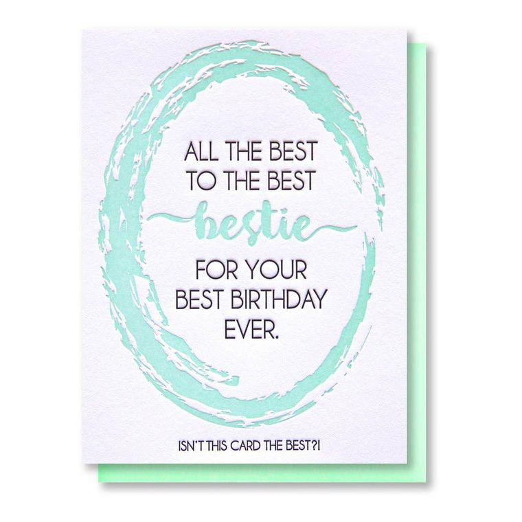 Funny Best Bestie Birthday Letterpress Card