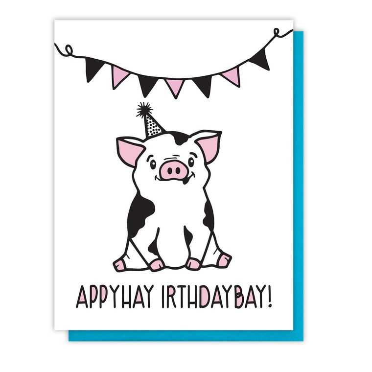 Funny Pig Latin Birthday Letterpress Card