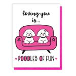 NEW! Funny Poodles of Fun Love Letterpress Card