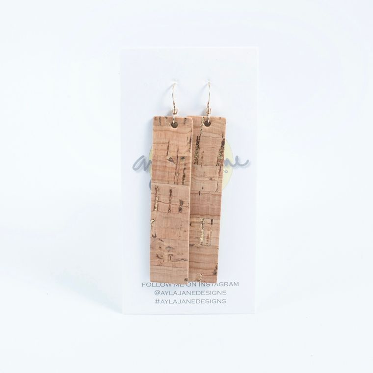 Natural Rectangle Cork Statement Earrings