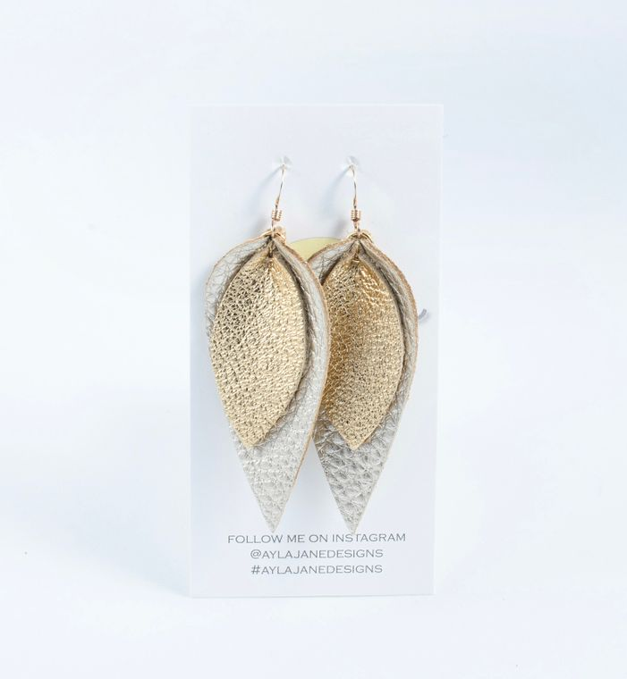 Gold/White Gold Double Petal Statement Earrings