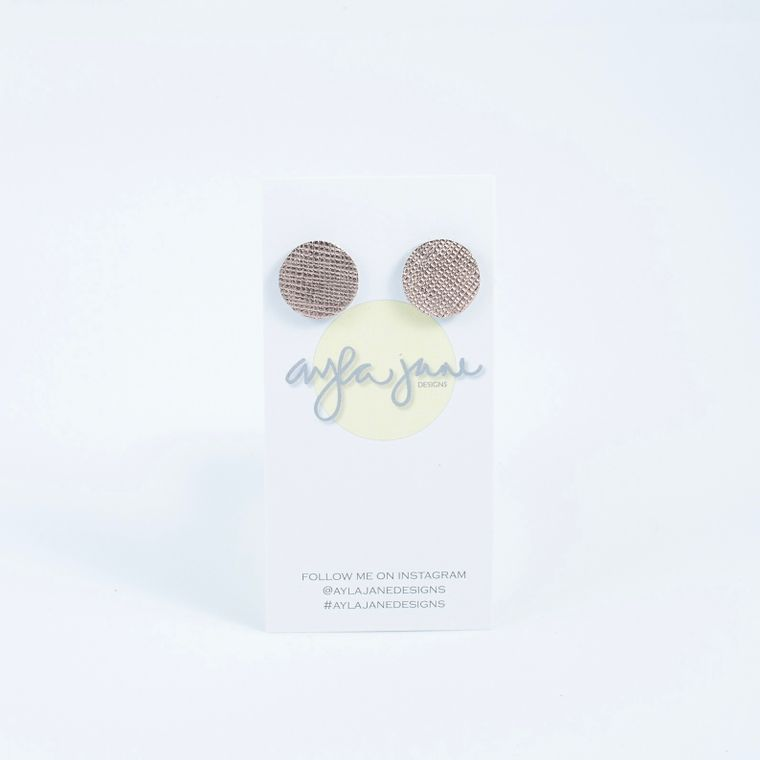 Rose Gold Leather Stud Earrings
