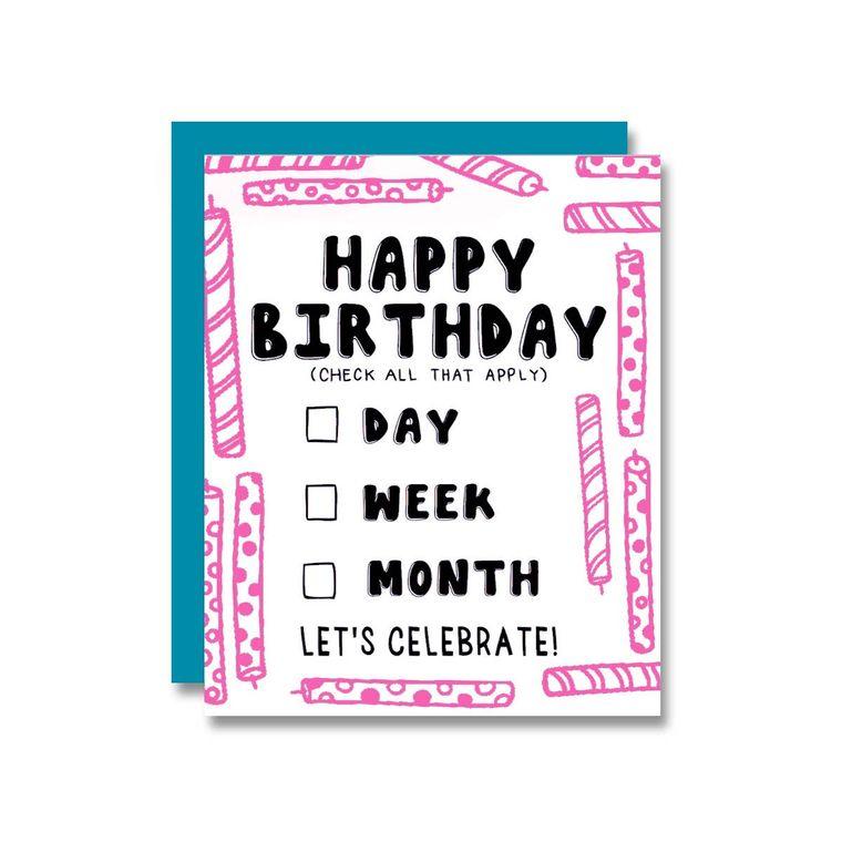 Birthday Day/Week/Month, Card