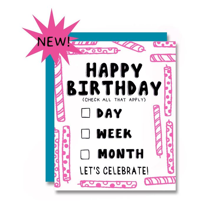 Birthday Day/Week/Month, Card