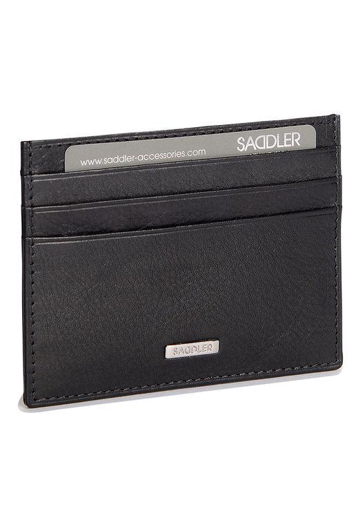 SADDLER Mens Nappa Real Leather Slimline Front Pocket Credit Card Holder - Black