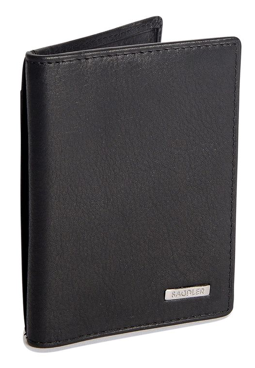 SADDLER Mens Nappa Real Leather Vertical Credit Card and ID Holder - Black
