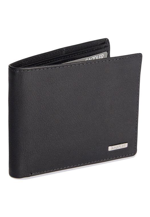 SADDLER Mens Nappa Leather Billfold Wallet 2 Note Section 8 Credit Cards - Black