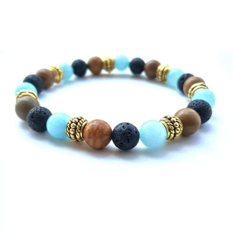 Gold Natural Stone Strand Black Lava stone Essential Oil Diffuser Bracelet