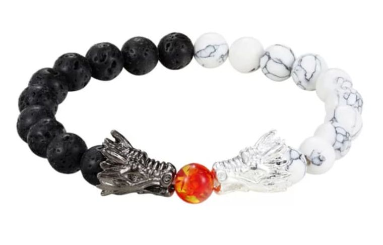 Dueling Dragons White & Black & Silver