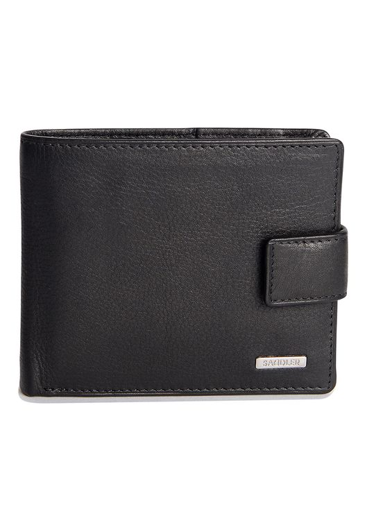 SADDLER Mens Nappa Leather Billfold Wallet 10 Credit Card Zip Coin Purse - Black