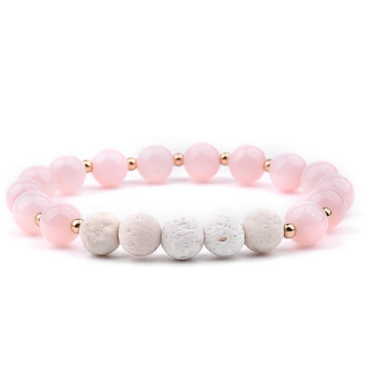 Lava Stone Essential Oil Bracelet - Pink and White