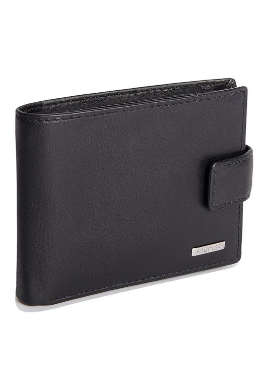 SADDLER Mens Leather Billfold Wallet - 11 Credit Cards & 2 ID Holders - Black