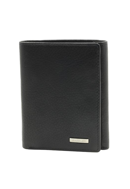 SADDLER Mens Nappa Leather 3-fold Wallet 6 Credit Card Coins & ID Holder - Black