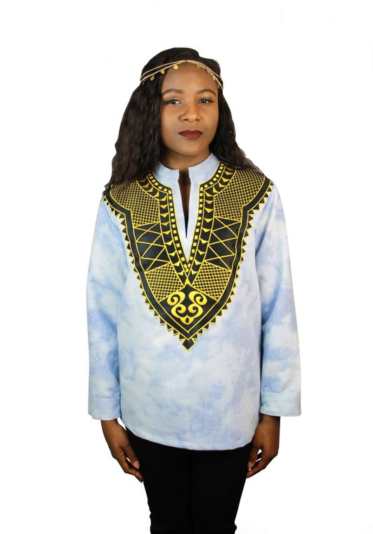 Women's Acid Sky Denim Dashiki