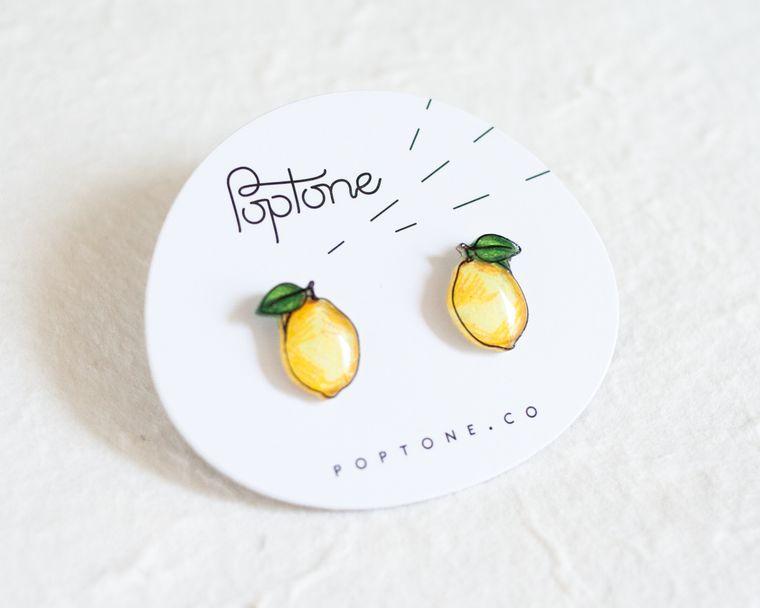 Lemon Fruit Stud Earrings / Yellow Citrus Earrings
