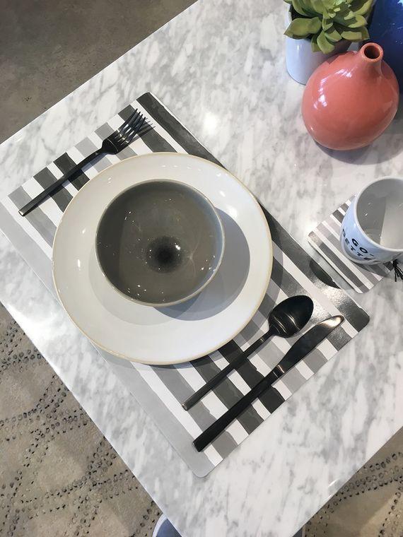 Brushstroke - Fog Paper Placemats