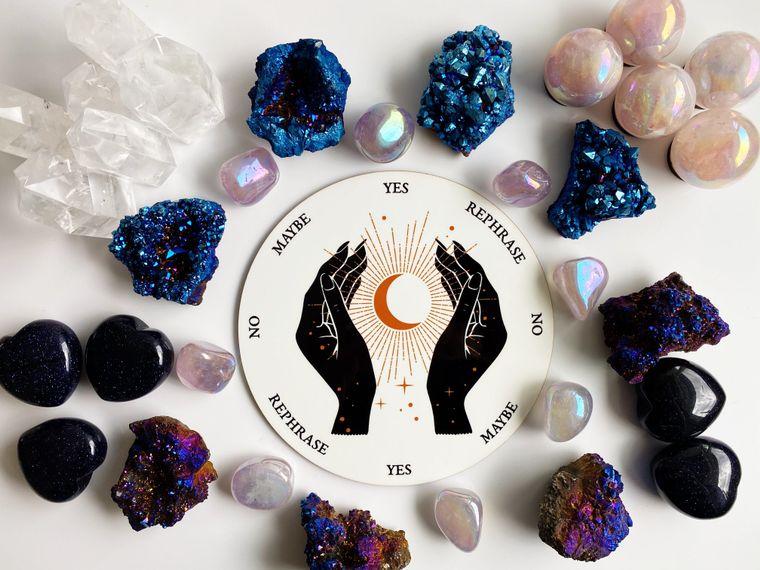 Magic Hands Holding Crescent Moon Pendulum Board - 8 inch