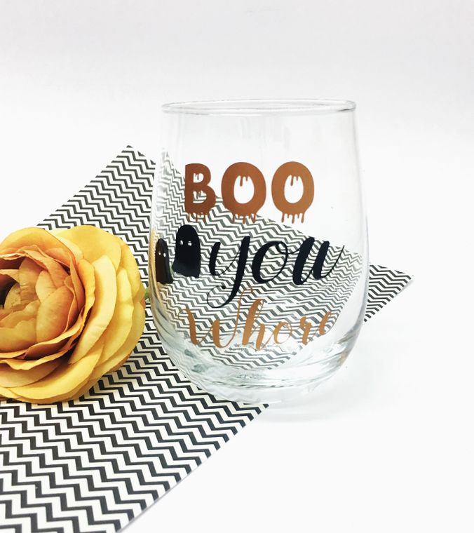 Boo you whore stemless wine glasses. Mean girls quote.