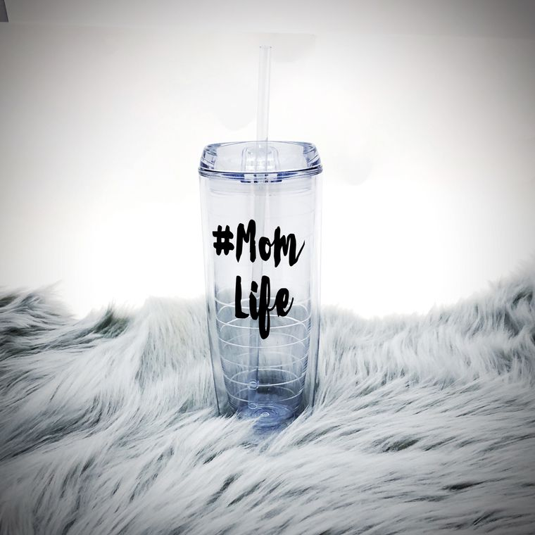 Mom Life Insulated Cup With Straw