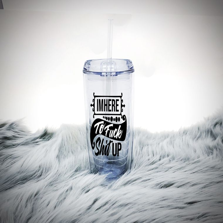 I'M Here To Fuck Shit Up Cup, Funny Water Tumbler Cup With Straw