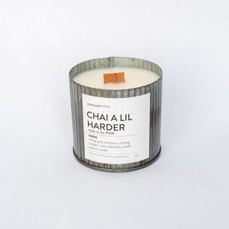 Chai a lil Harder - Rustic Vintage Wood Wick Candle