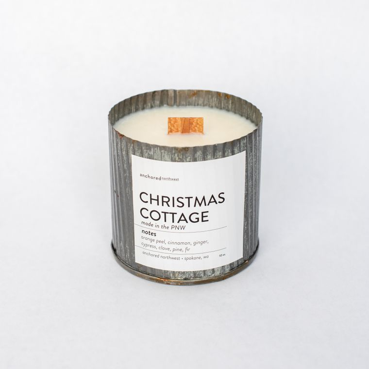 Christmas Cottage - Rustic Vintage Wood Wick Candle