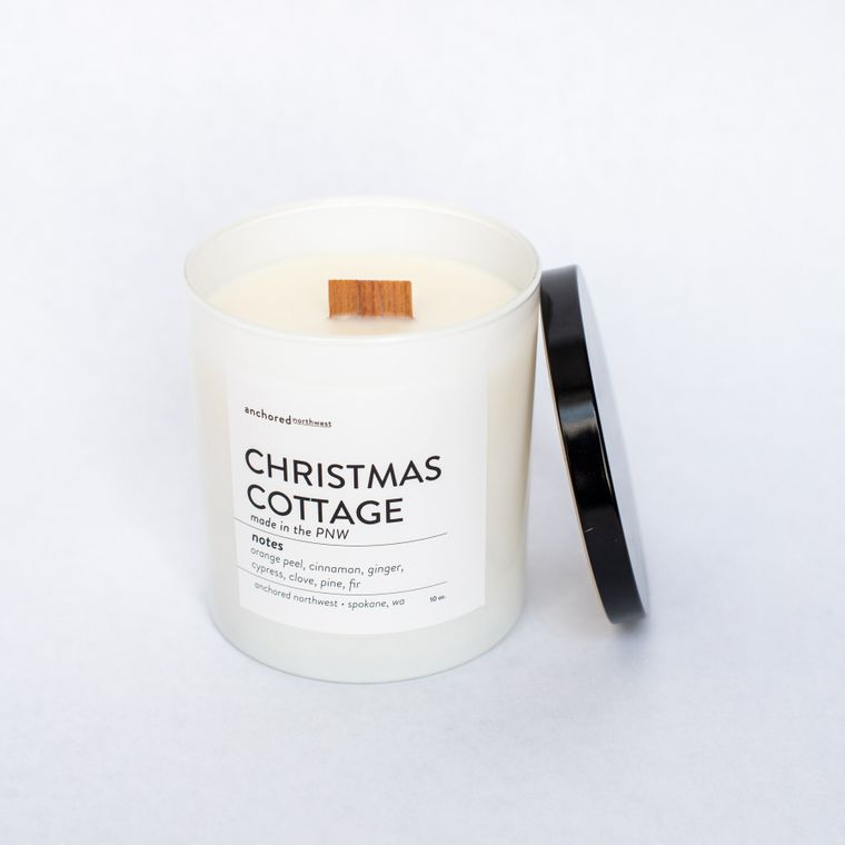Christmas Cottage - White Tumbler w/ lid
