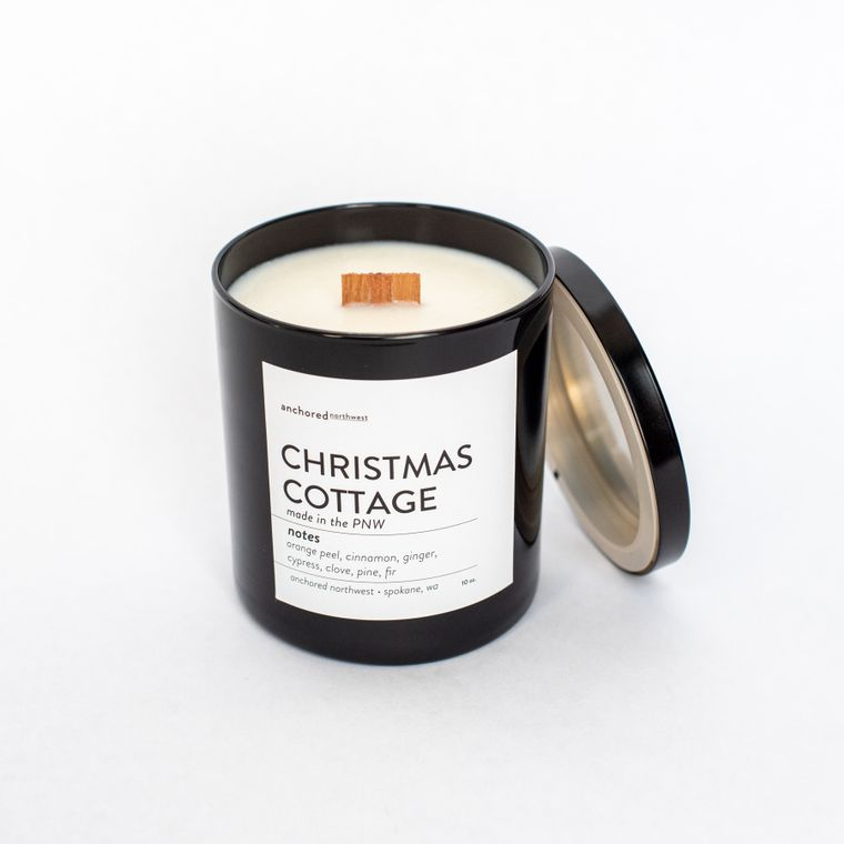 Christmas Cottage - Black Tumbler w/ lid