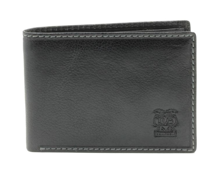 CAPPIANO Mens Billfold Wallet - Shirt Pocket - Vegetable Tanned Leather - 2 Full Length Note Sections - Transparent PVC ID Window - Horizontal Credit Card Slots - Side Entry Slip-in Rear Pocket