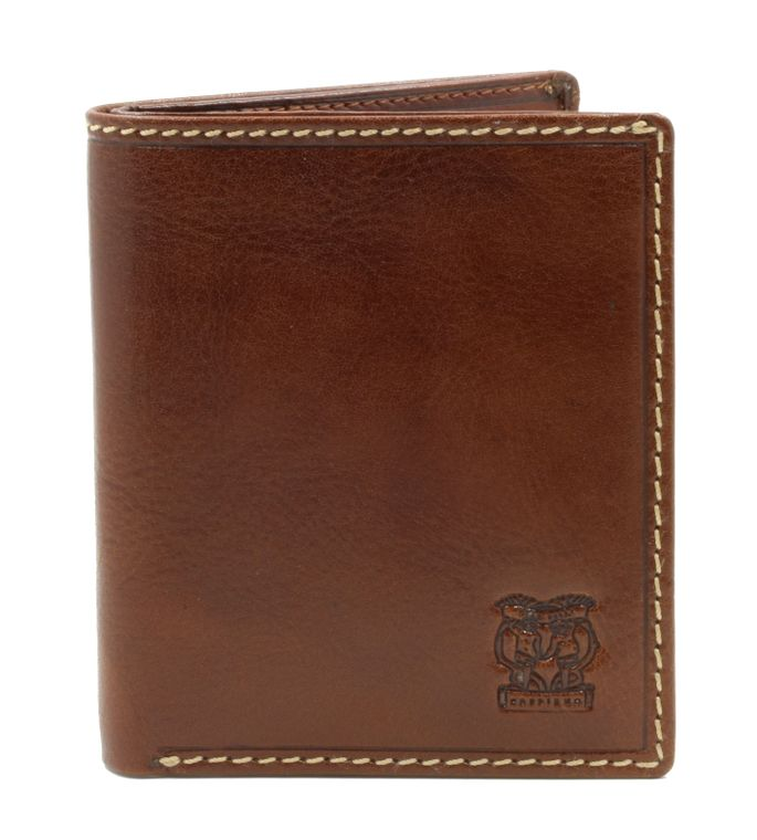 "CAPPIANO Mens Billfold Wallet - North South - Vegetable Tanned Leather - 2 Full Length Note Section - 6 Credit Card Slots - Side Entry Slip-in Rear Pocket - Embossed CAPPIANO ""Cherub"" Logo"