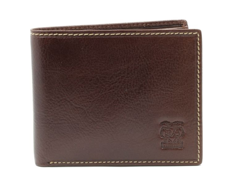 """CAPPIANO Mens Billfold Wallet - Vegetable Tanned Leather - 2 Full Note Sections - 11 Credit Card Slots - with Centre ID Wing - Transparent PVC ID Window - Embossed CAPPIANO """"Cherub"""" Logo"""