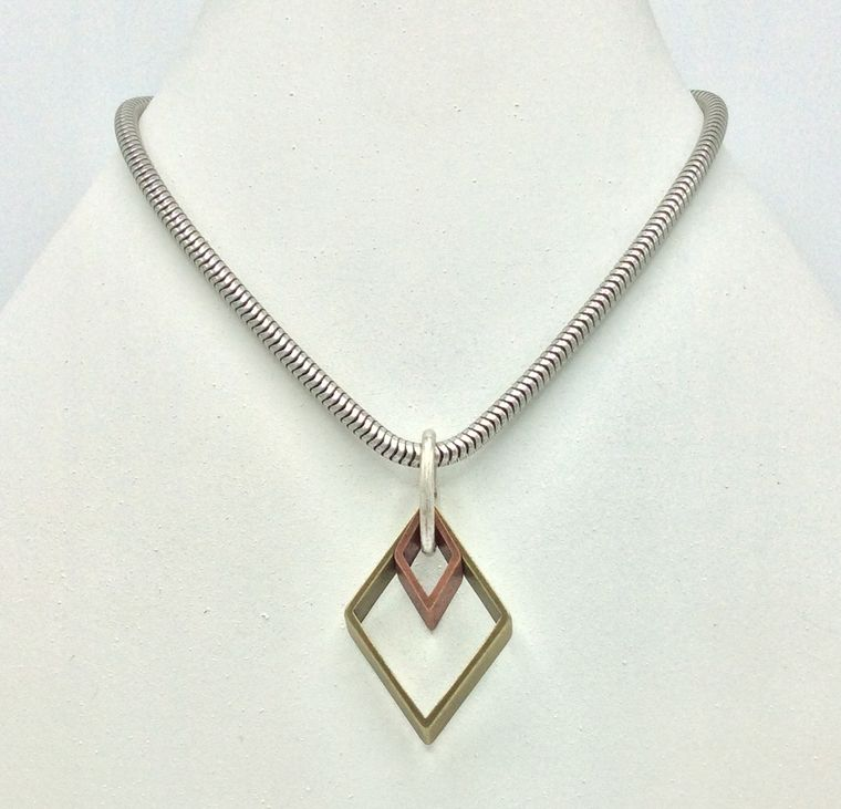 Mixed Metal Geometric Necklace