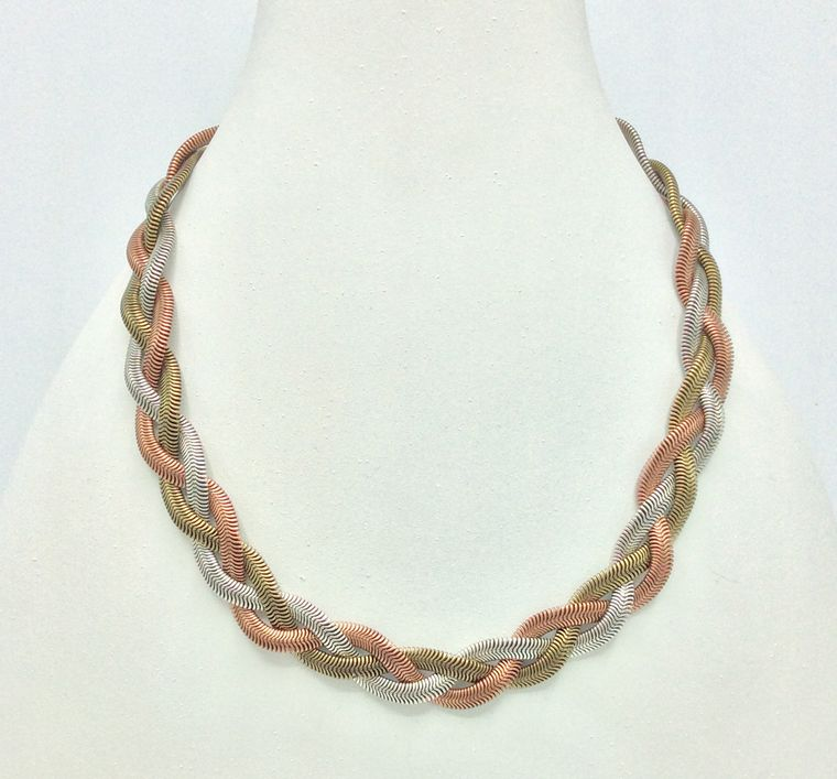 3-tone Braided Necklace