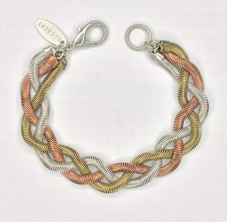 Mixed Metal Braided Bracelet