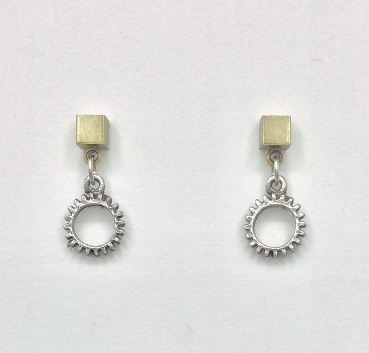 Tiny Gear Drop Earrings