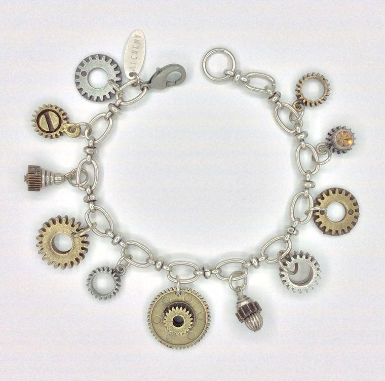 Industrial Gear Charm Bracelet