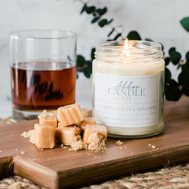 Butterscotch & Bourbon Soy Candle by Abboo Candle Co