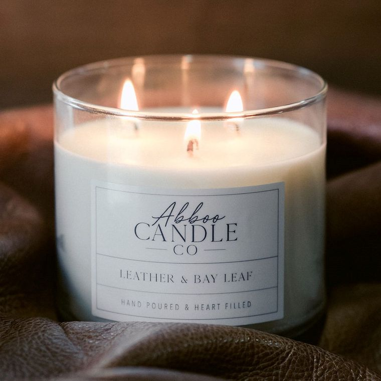 Leather & Bay Leaf 3 Wick Soy Candle by Abboo Candle Co