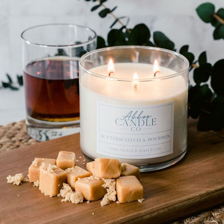 Butterscotch & Bourbon 3 Wick Soy Candle by Abboo Candle Co