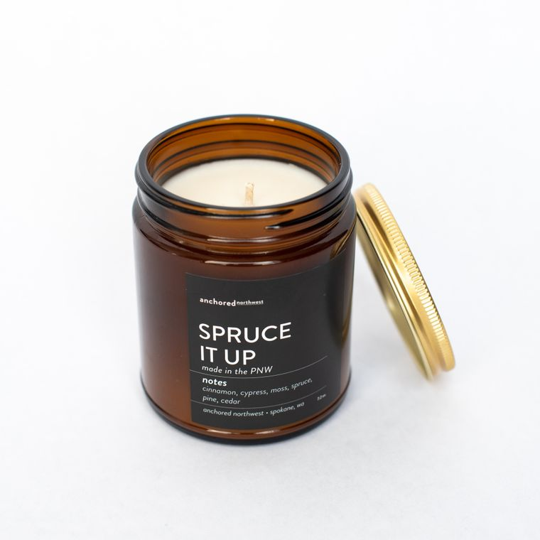 Spruce it up - Amber Jar w/ Cotton Wick