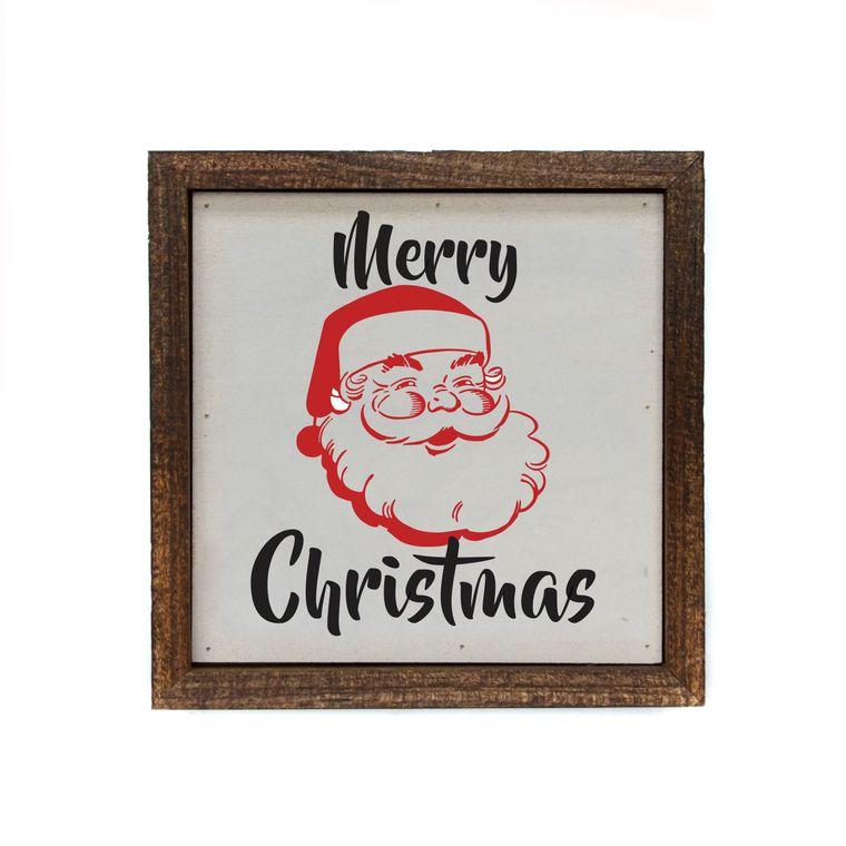 6x6 Merry Christmas With Santa Box Sign