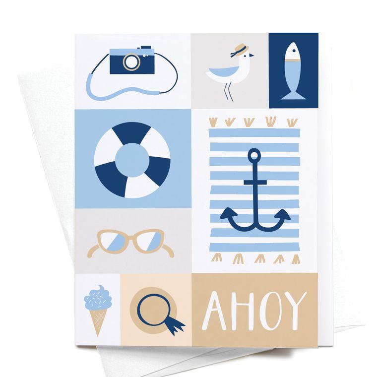 Ahoy Nautical Beach Greeting Card