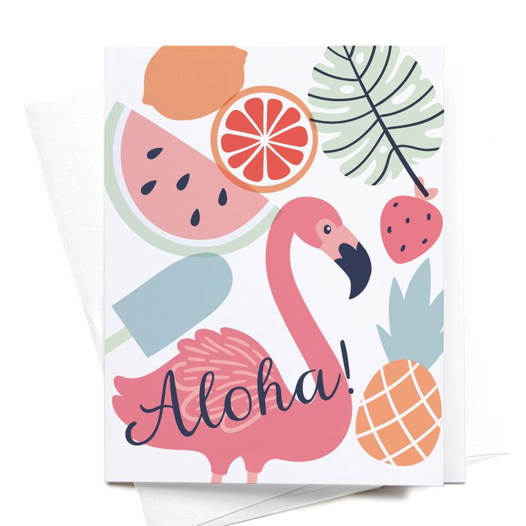 Aloha! Tropical Flamingo Greeting Card