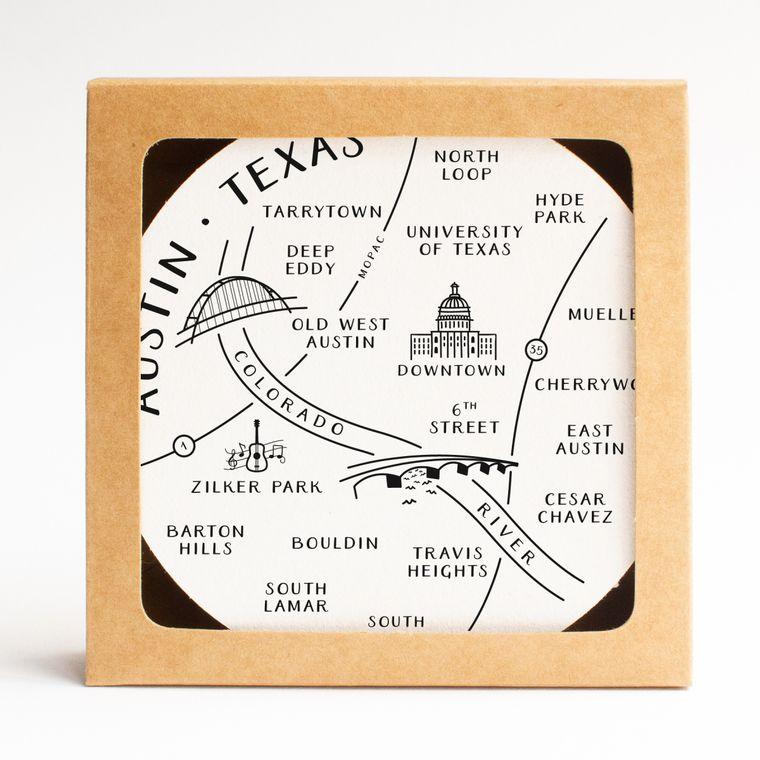 Austin Neighborhoods Map Coaster Set