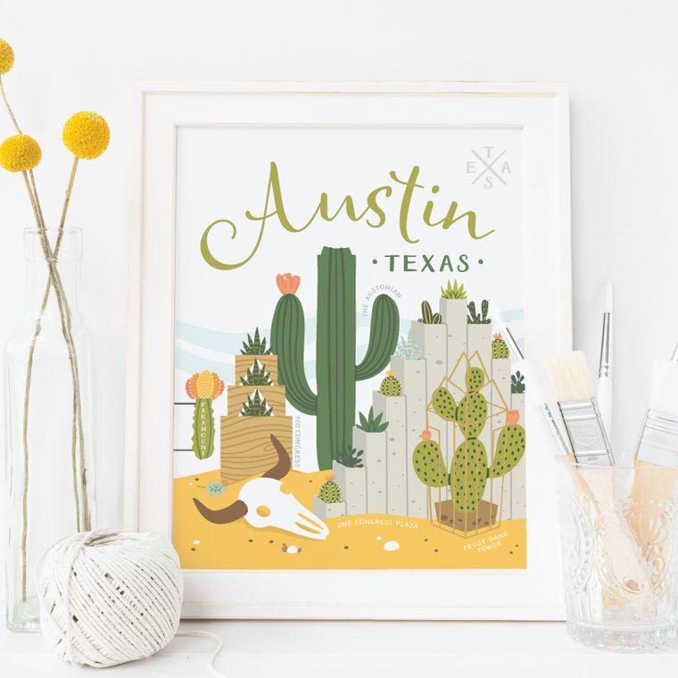 Austin Succulent Skyline Art Print