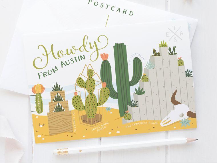 Austin Succulent Skyline Postcard