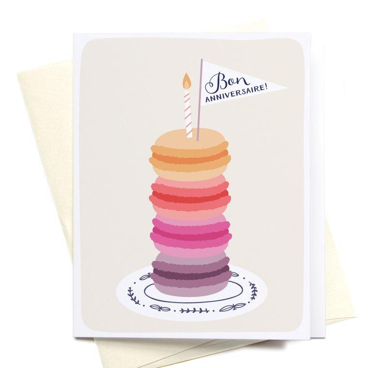 Bon Anniversaire Macarons Greeting Card